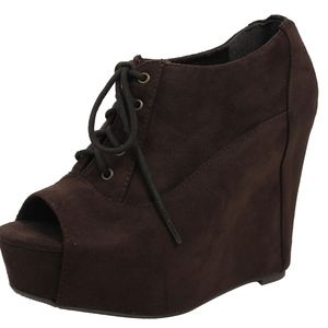Brown Faux Suede Peep Toe Lace Up Platform Wedge